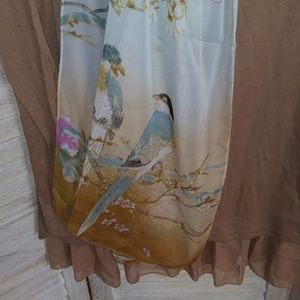 Accessories - NEW Silky scarf light blue & brown Birds floral